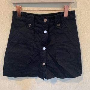 Zara Basics navy button down mini skirt